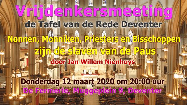 Vrijdenkersmeeting 12 maart 2020 gaat over het celibaat.