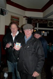 Later in the pub with locals Herman and George
