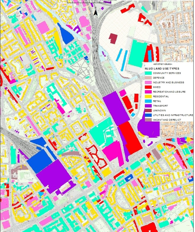 Spatial map of Somers Town Land Use .