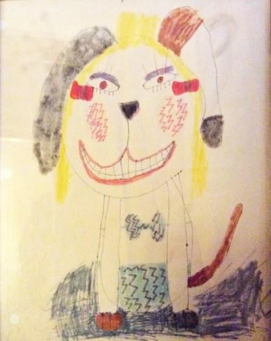 dog in bikini drawing