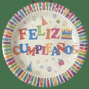"""Platos desechables """"Feliz Cumpleaños"""" 8 unidades - A Spanish Bite"""