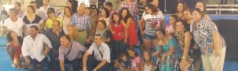 Grupo de ASPAPROS con los voluntarios de la Caixa en la feria de Almería 2015
