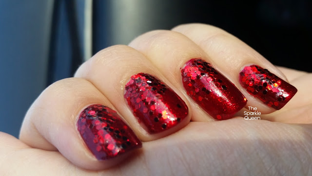 Red Glitter Gradient Nail Art
