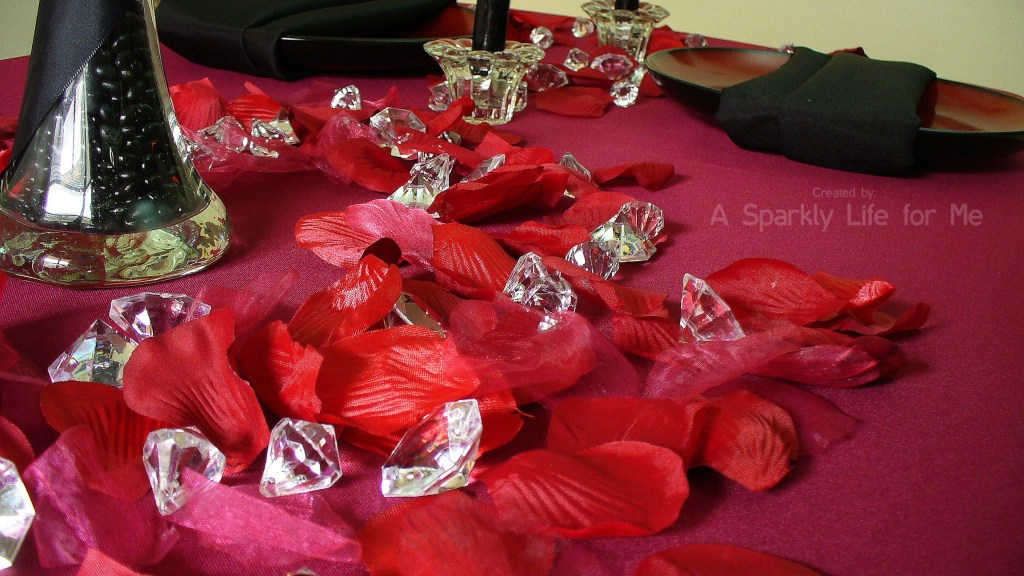 Red Rose Petals and Crystal Diamonds Table Decor