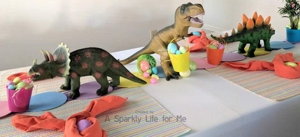 Dinosaur Easter Egg Hunt Table Decor and Tablescape