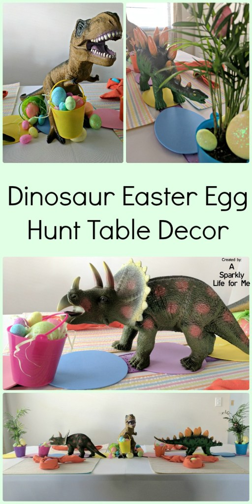 Dinosaur Easter Egg Hunt Table Decor by A Sparkly Life for Me