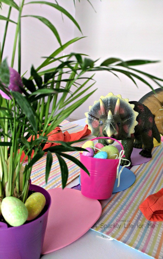 Triceratops Dino Easter Egg Hunt Table Decor and Foliage – by A Sparkly Life for Me