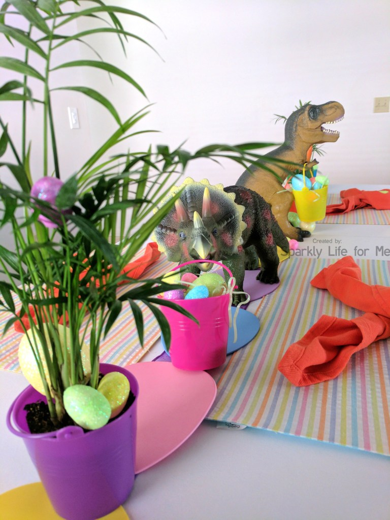 Triceratops and TREX Dino Easter Egg Hunt Table Decor – by A Sparkly Life for Me