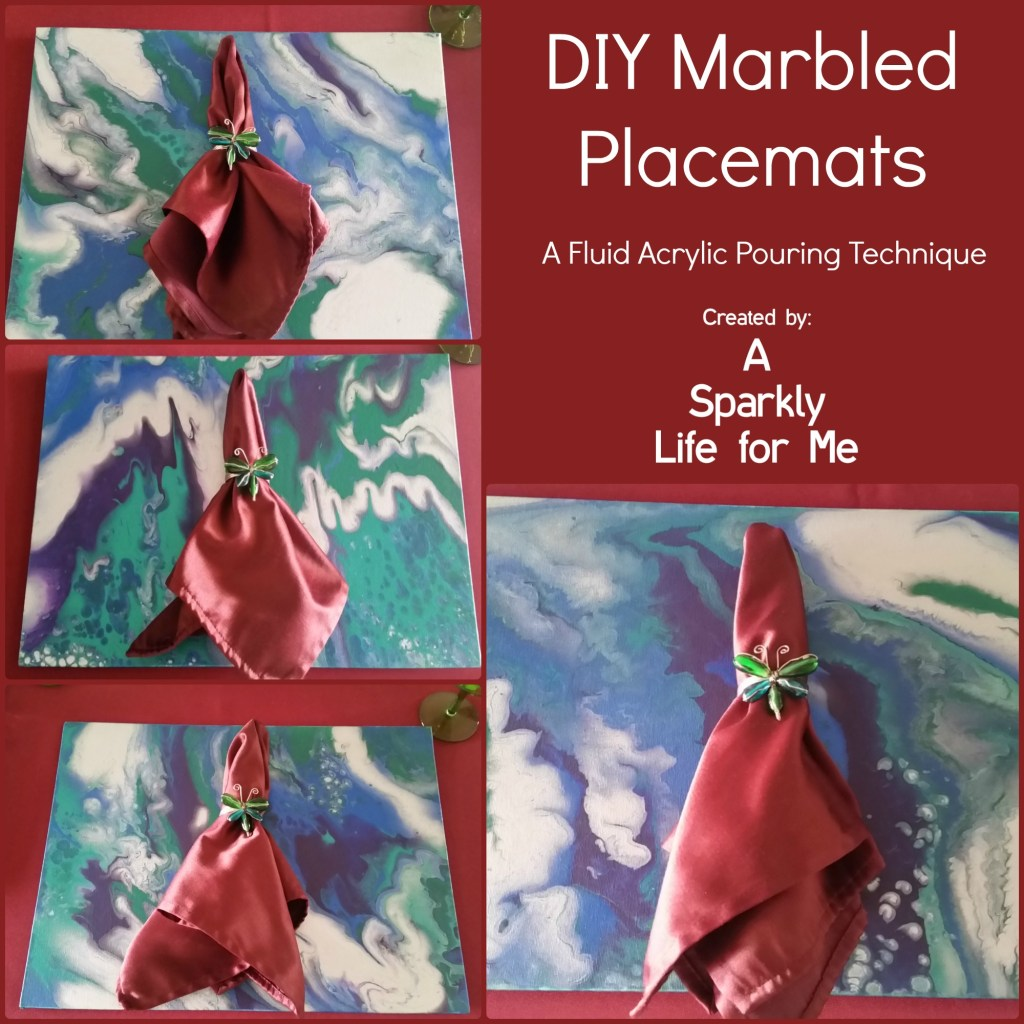 DIY Marbled Placemats with Jewel Toned Napkins by Fluid Acrylic Pouring Technique