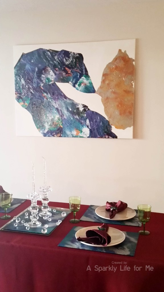 Jewel Tone Table with DIY Marbled Placemats Table Decor by A Sparkly Life for Me