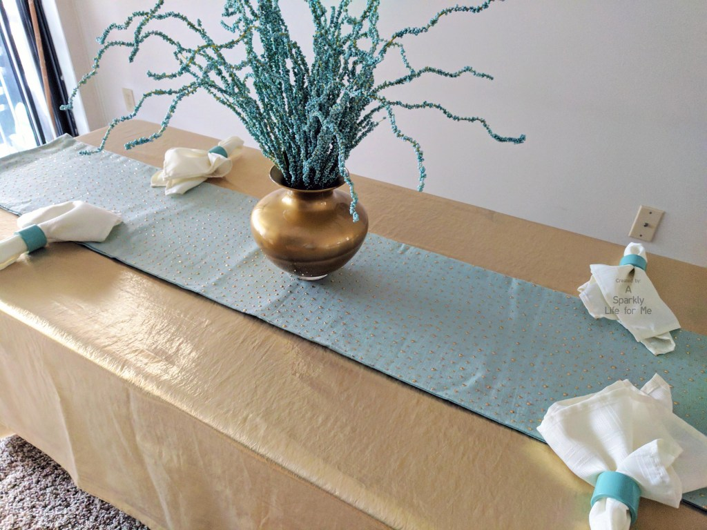 Funky Blue and Gold Tablescape with DIY Vase in Gold