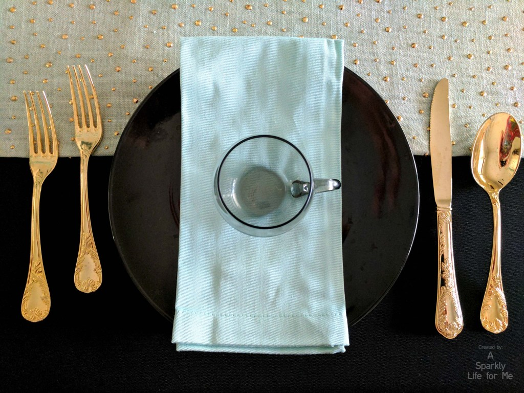 Gold Flatware with Blue and Black Place Setting and Tablescape