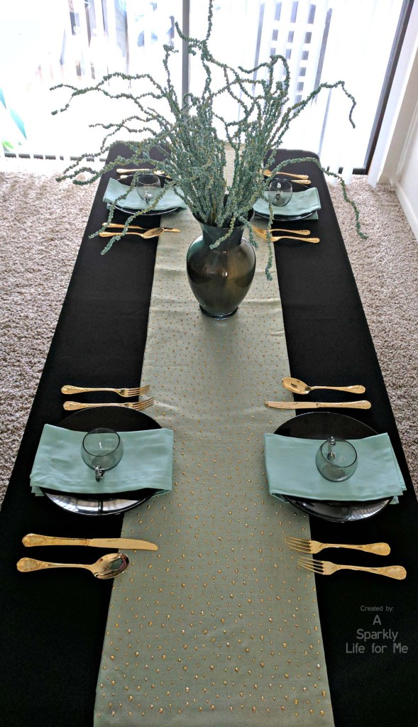 Light Blue Black and Gold DIY Table Decor and Funky Centerpiece