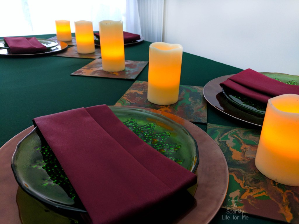 modern take on a midsummer night with a marbled twist - cute modern dinner party table decor and place setting with DIY fluid acrylic pouring table accents