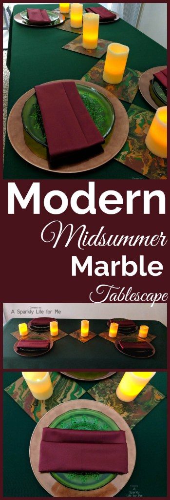Modern Midsummer Marble Tablescape with DIY Acrylic Fluid Painting Table Decor Accents