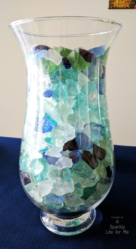 Sea Glass Centerpiece BEFORE Water and Candle Added