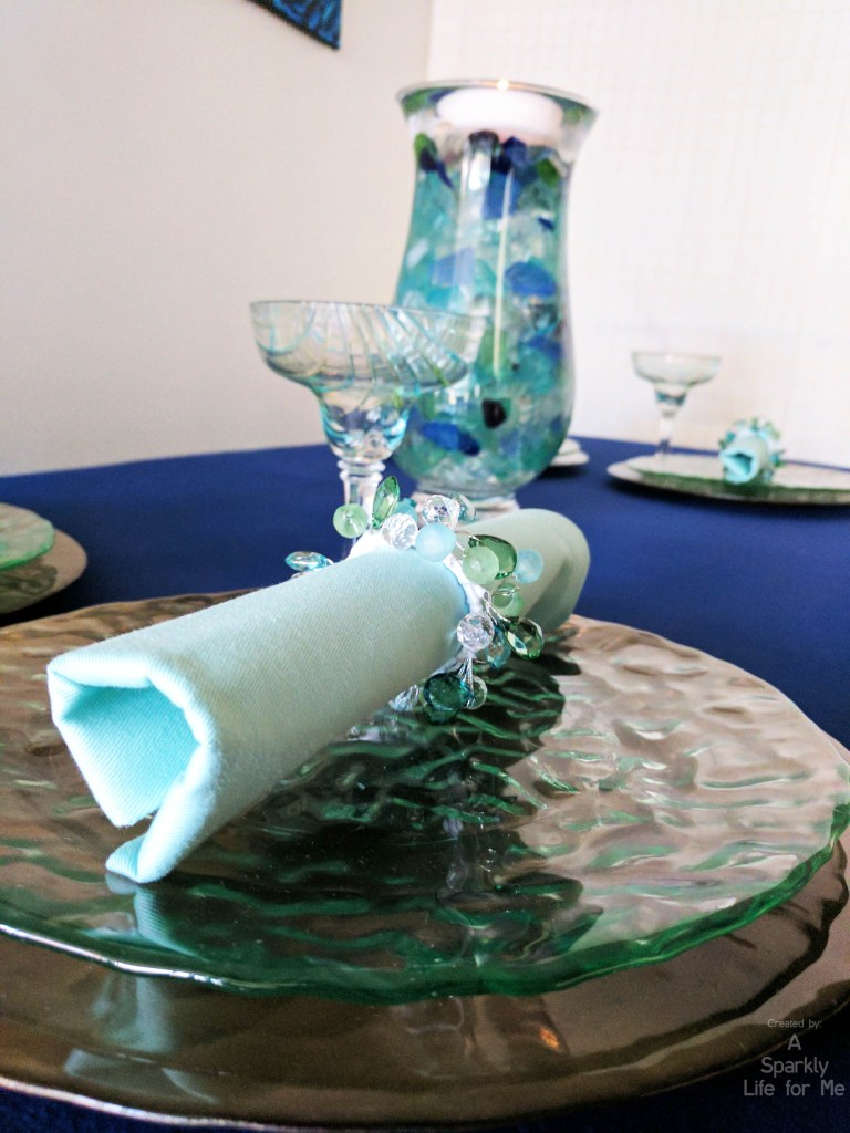 Sea Glass Hues Blues and Bronze Tablescape