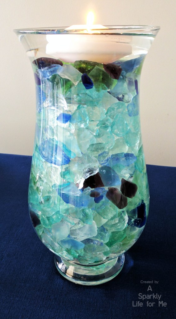 Sea Glass Tall Centerpiece with Floating Candle