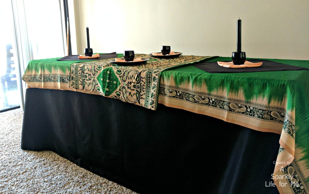 Black green and peach peacock sari tablescape made from thrift store finds - by A Sparkly Life for Me
