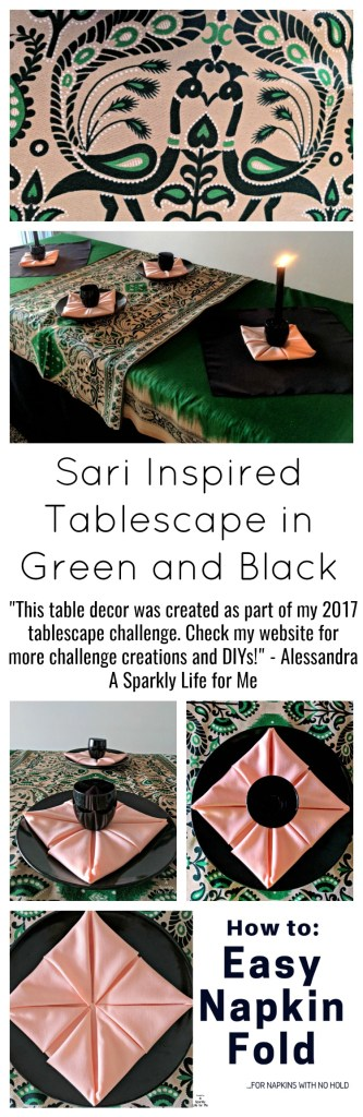 Sari Inspired Tablescape in Green and Black Table Decor by A Sparkly Life for Me