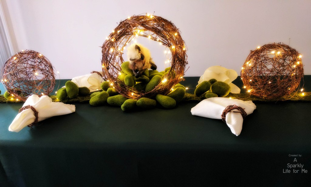 DIY Enchanted Garden Table Decor Centerpiece with Fairy Lights and Moss Rocks – by A Sparkly Life for Me