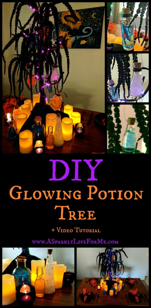 DIY Glowing Potion Tree Centerpiece and Video Tutorial by A Sparkly Life for Me