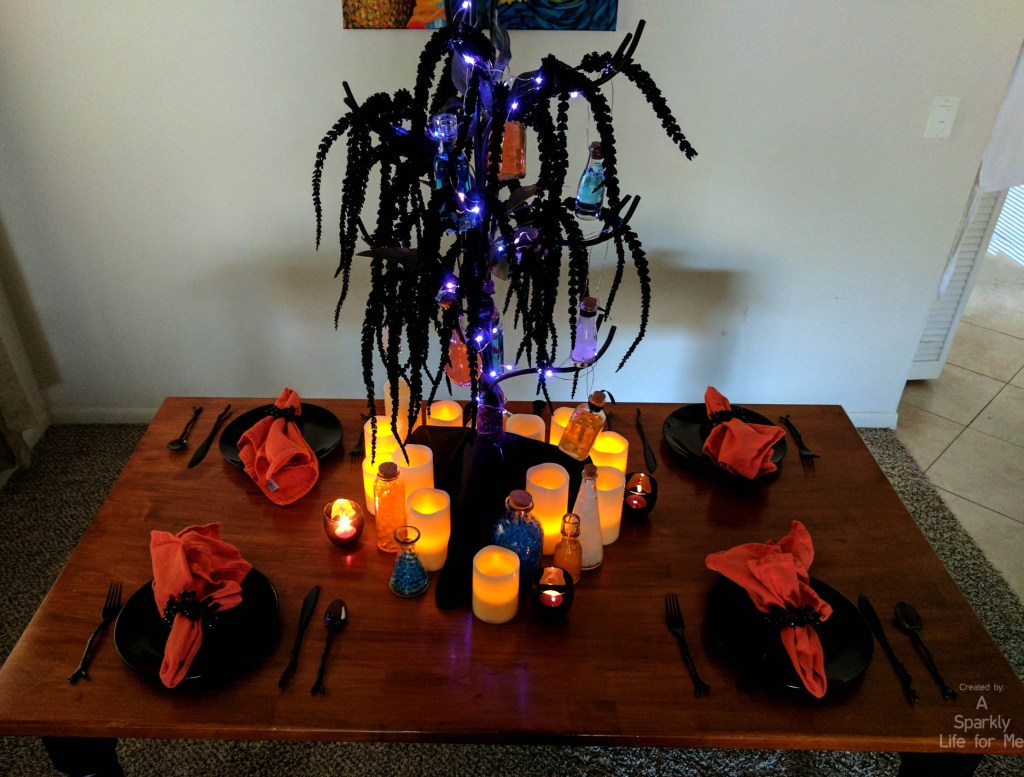 DIY Thrift Store Glowing Potion Tree Tablescape for Harry Potter Party or Halloween Decor by A Sparkly Life for Me