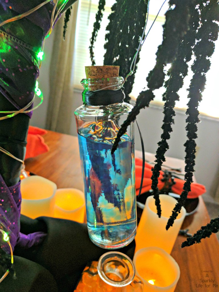 DIY potion bottle close up for Harry Potter glowing potion tree by A Sparkly Life for Me