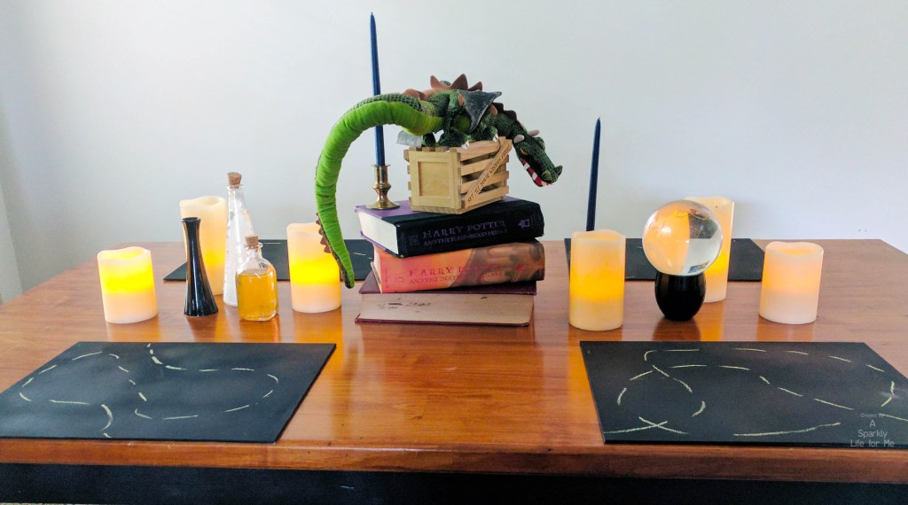 harry potter table decor and centerpiece