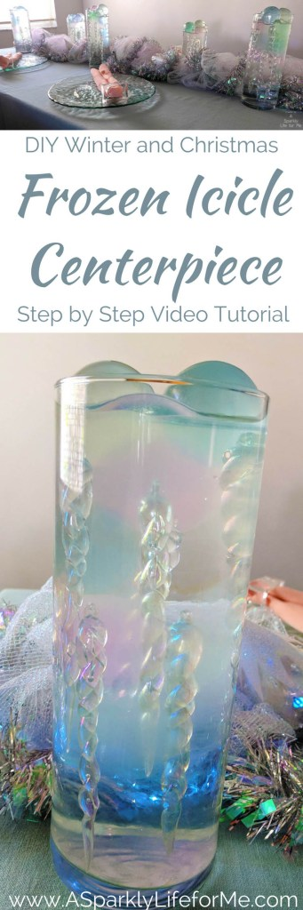 DIY Winter and Christmas Frozen Icicle Centerpiece with video tutorial by A Sparkly Life for Me