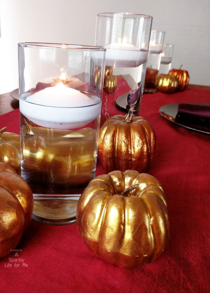 Floating candle simple centerpiece for thanksgiving table by A Sparkly Life for Me