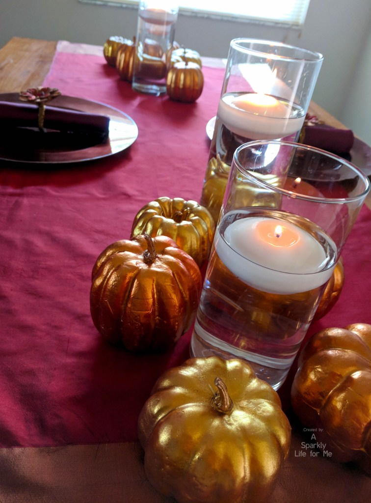 Metallic thanksgiving table decor for 2 by A Sparkly Life for Me