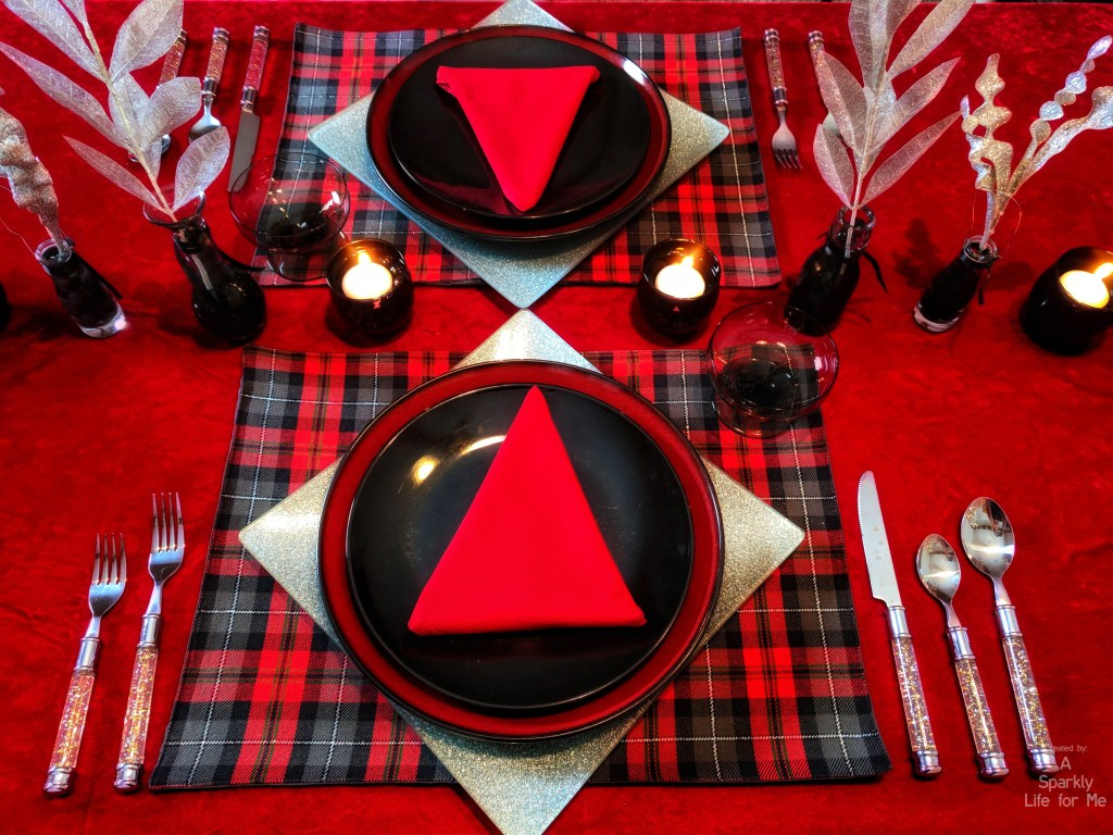 Black and red buffalo plaid tablescape with black gel beads and silver glitter accents - christmas table decor for two - A Sparkly Life for Me