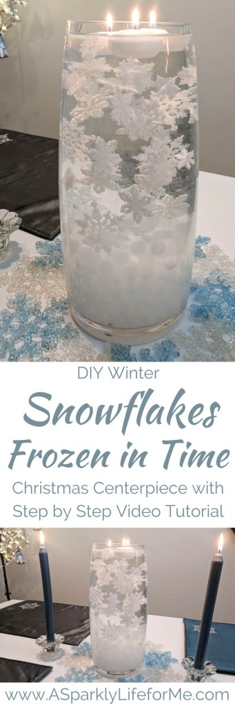 DIY Winter Snowflakes Frozen in Time Christmas Centerpiece with gel beads