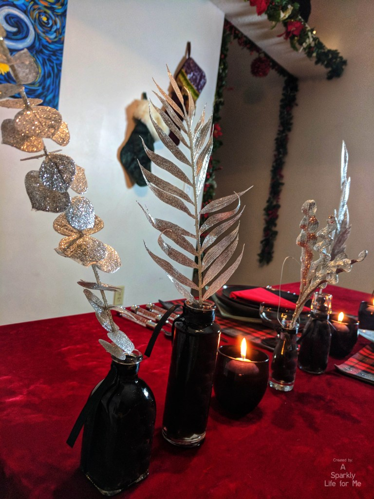 black gel beads and silver glitter picks centerpiece decor DIY