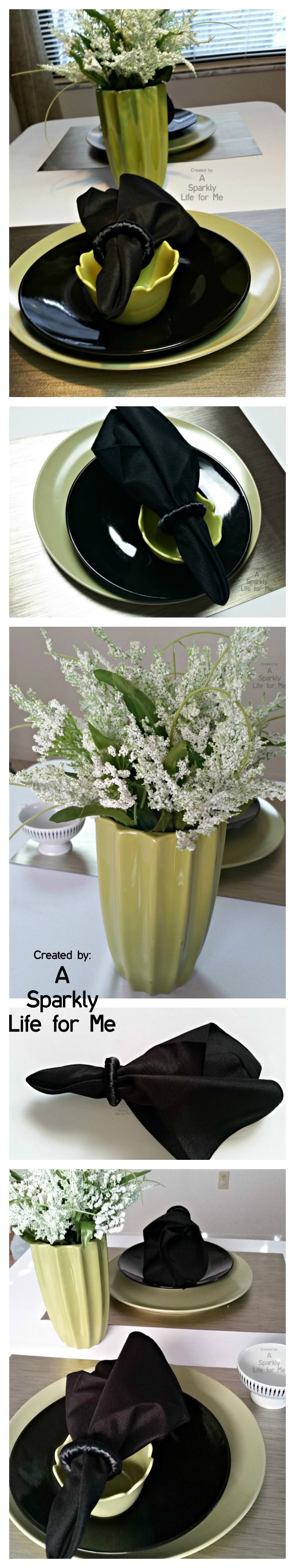 Modern Green, Black, and White Table Decor by A Sparkly Life for Me 1