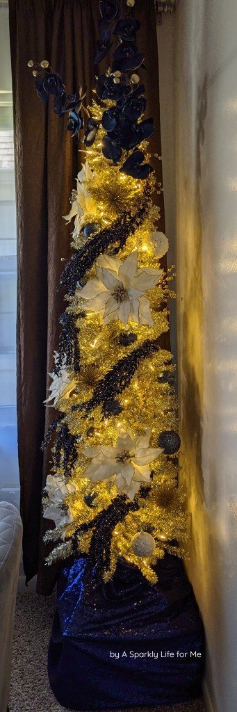Champagne Tinsel Tree with Navy and White Accents - Illuminated