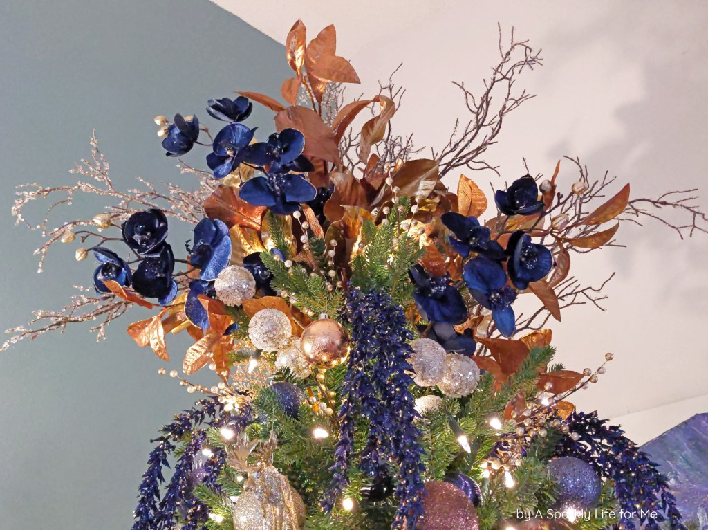 Navy Blue, Copper, and Bronze Floral Tree Topper by A Sparkly Life for Me