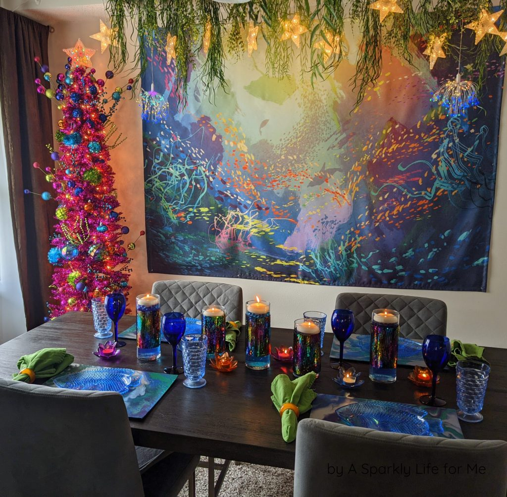 Merry and Bright - Under the Sea Christmas Table Decor and Tinsel Tree