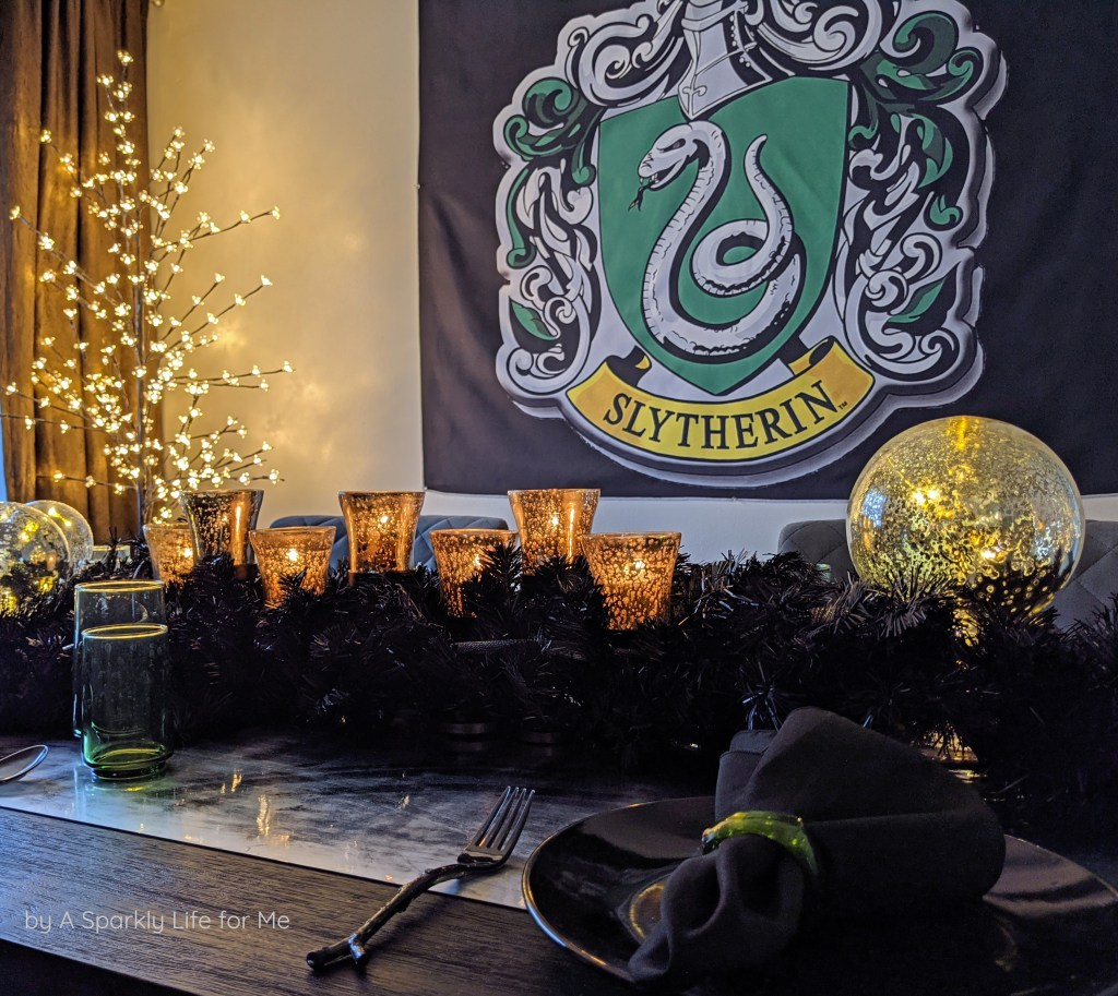 Slytherin Crest with Black, Silver, and Mercury Glass Centerpiece Table Runner
