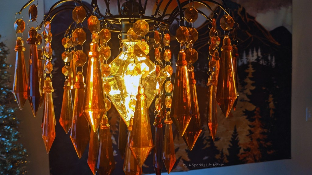 Amber Chandelier with Diamond Shaped Bulb