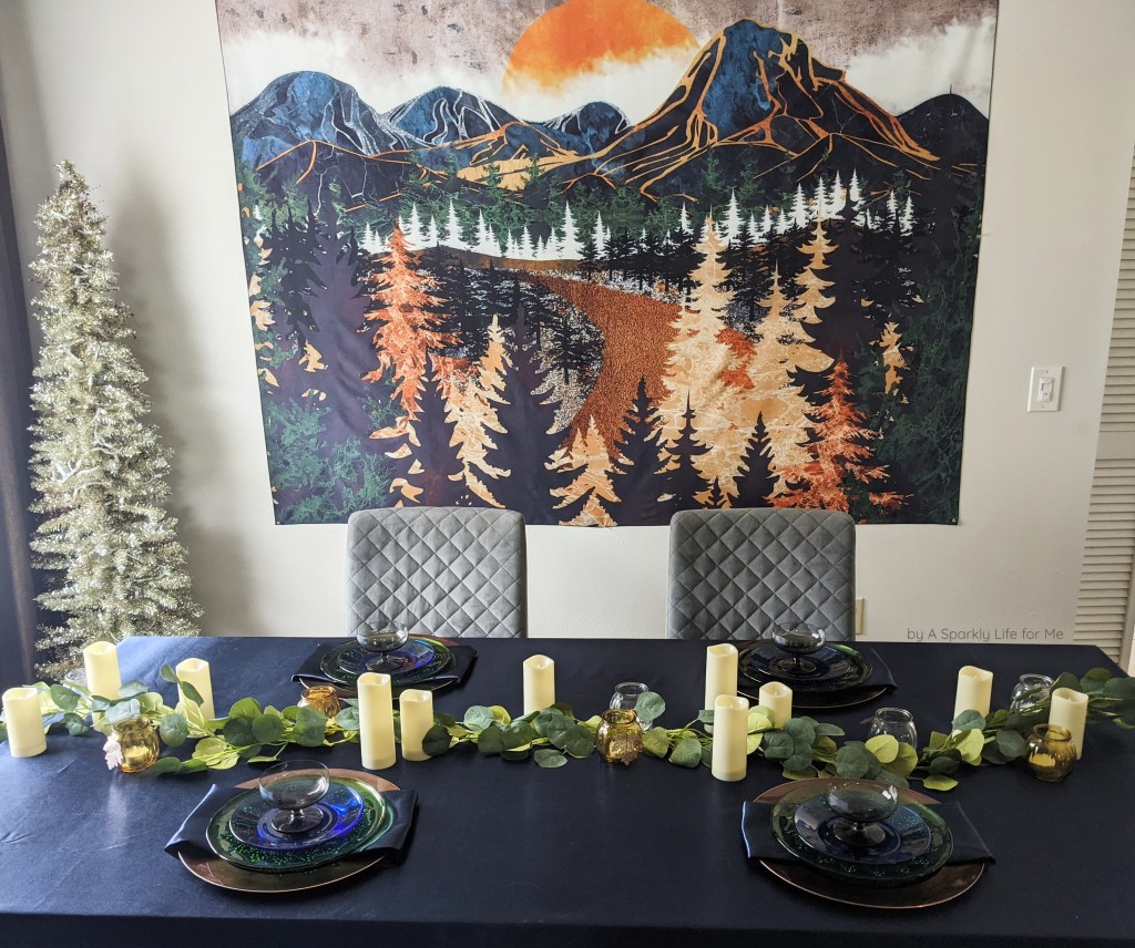 Fall Tablescape with Navy, Greenery Garland, Candles, and Abstract Mountain Tapestry