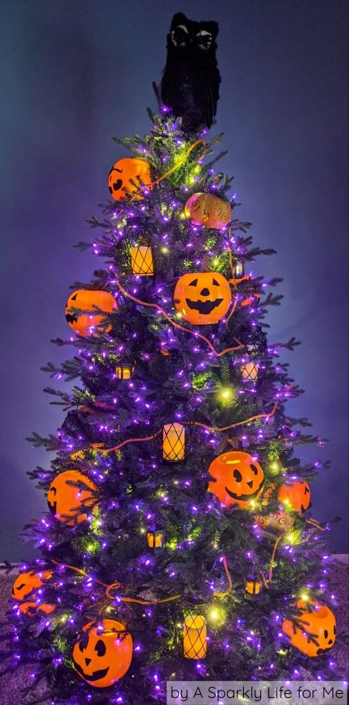 Halloween Tree with Purple Lights and Jack o Lantern Candles