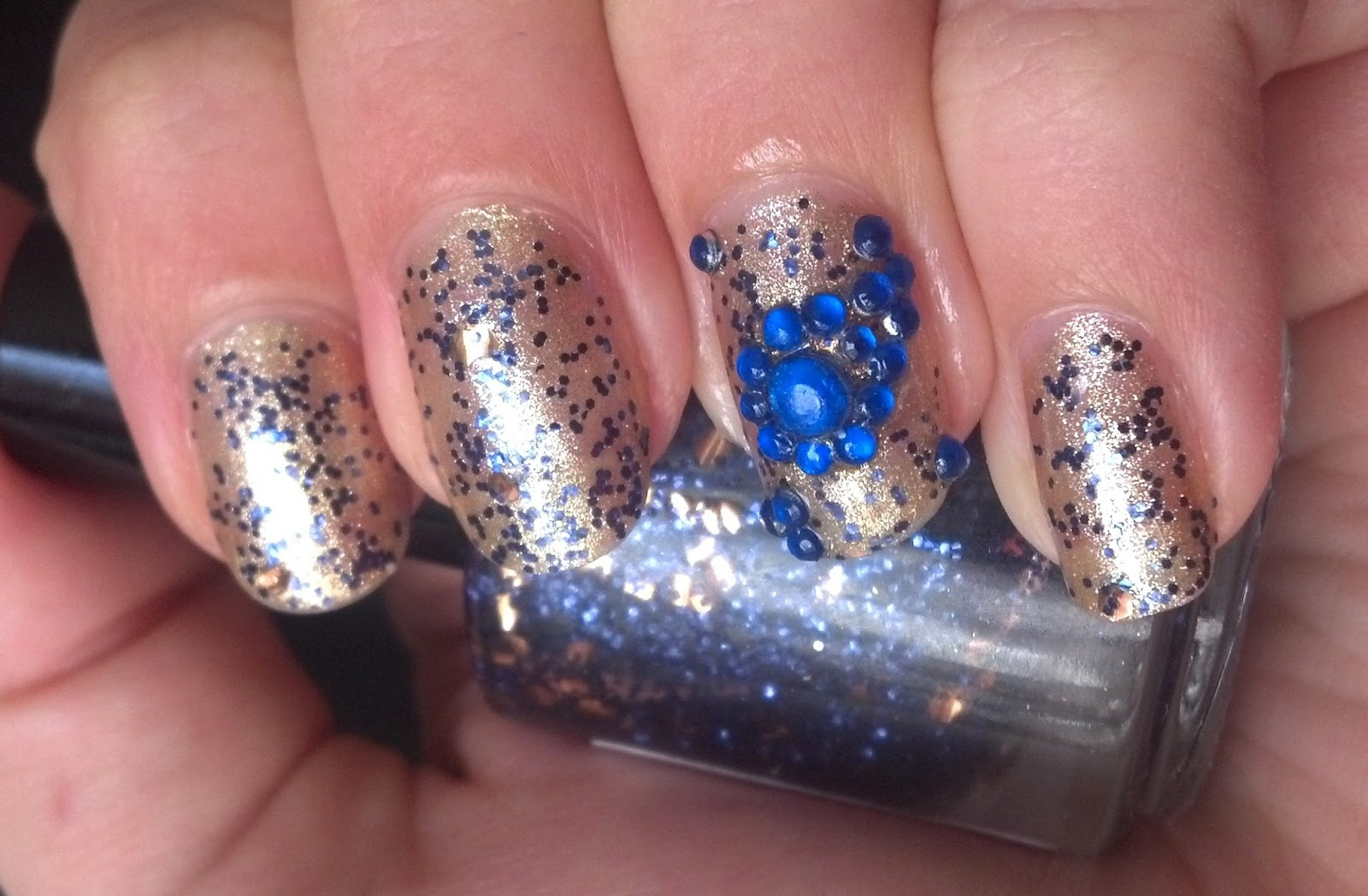 Rhinestone Paisley Nail Art In Blue A Sparkly Life For Me