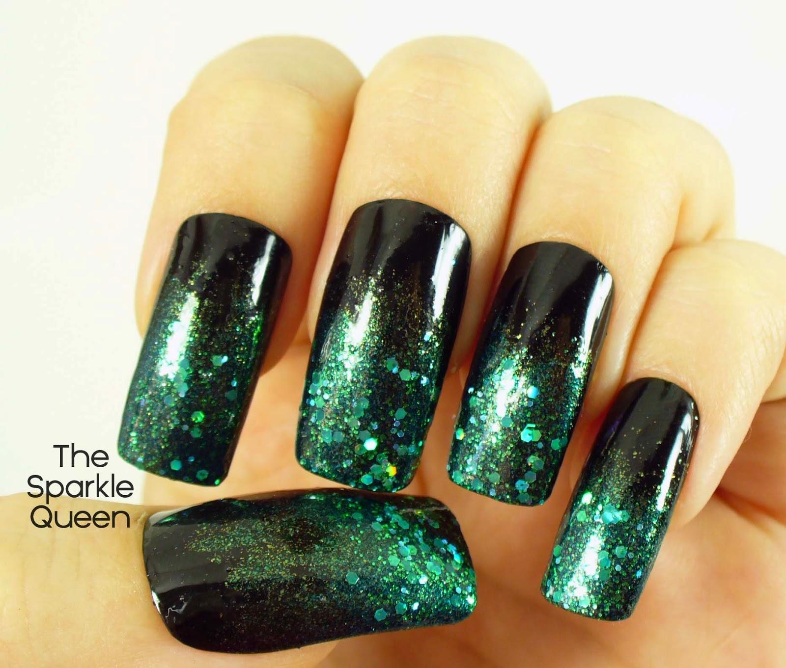 Dark + Mysterious Glitter Gradient - March #HePicksMyPolish Nail Art ...