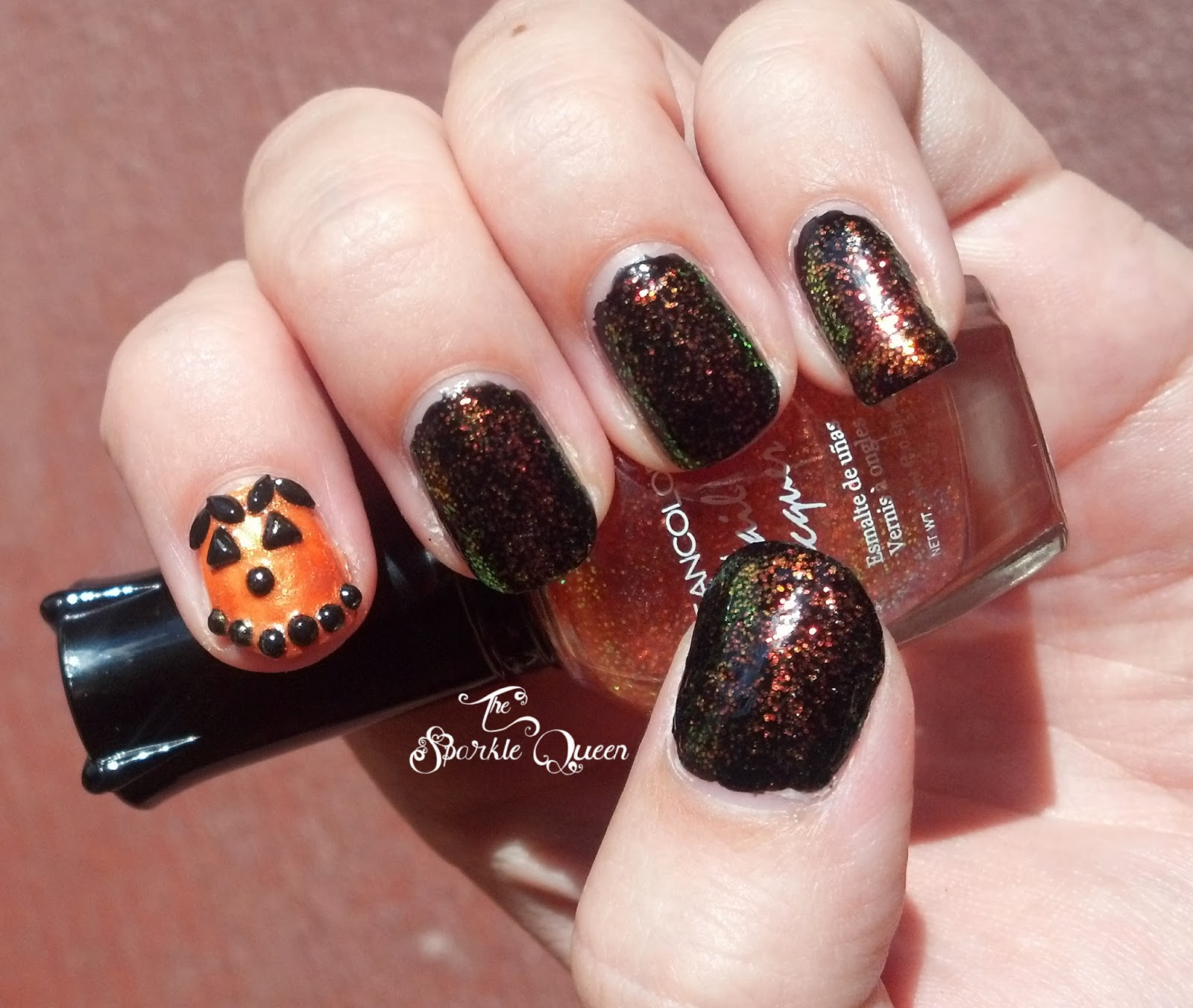 Sparkling Jack-O-Lantern Halloween Nails - A Sparkly Life for Me
