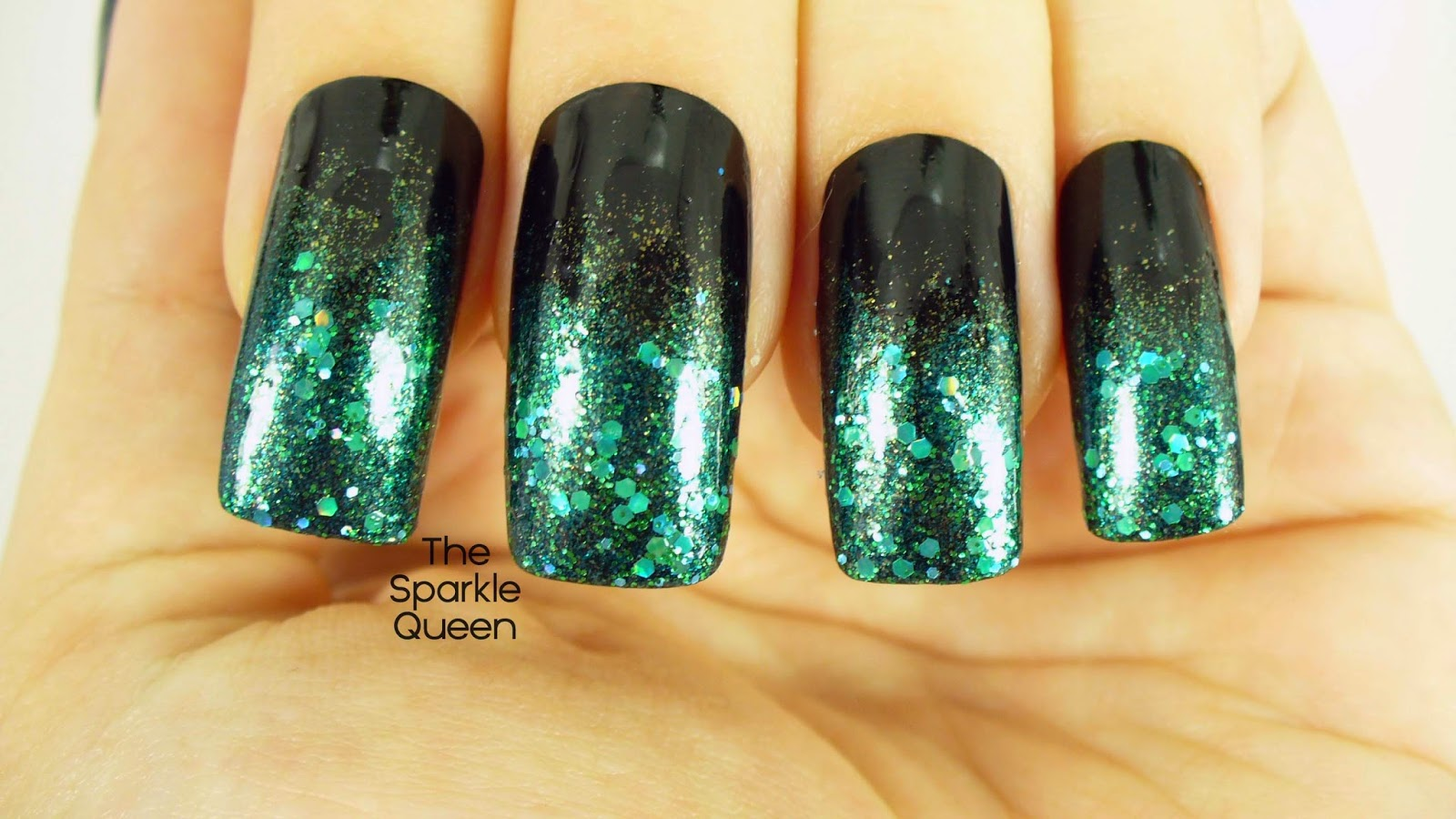 Dark + Mysterious Glitter Gradient - March #HePicksMyPolish Nail Art ...