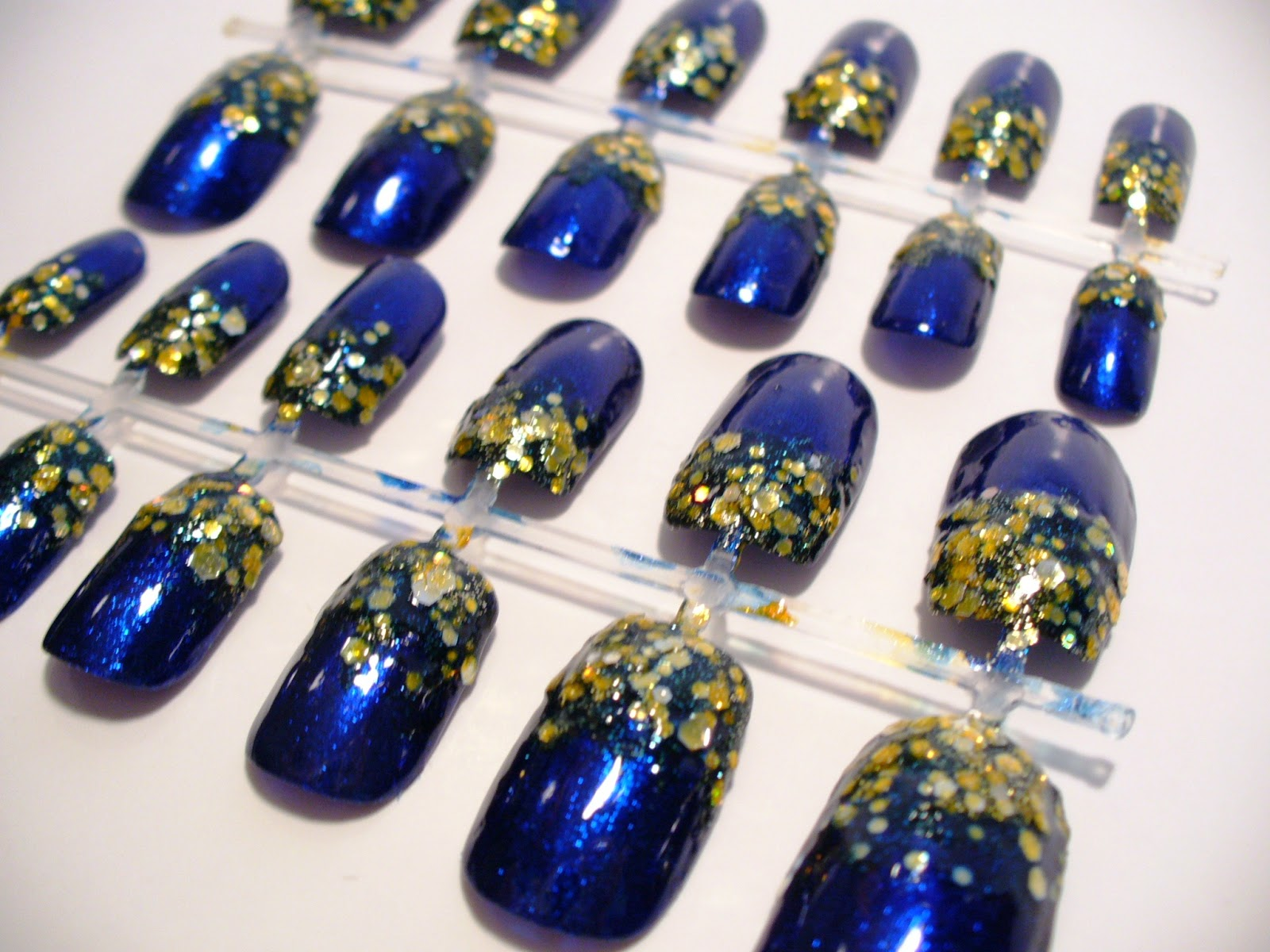 Blue And Gold Nail Art Glitter Gradient Video Tutorial A Sparkly