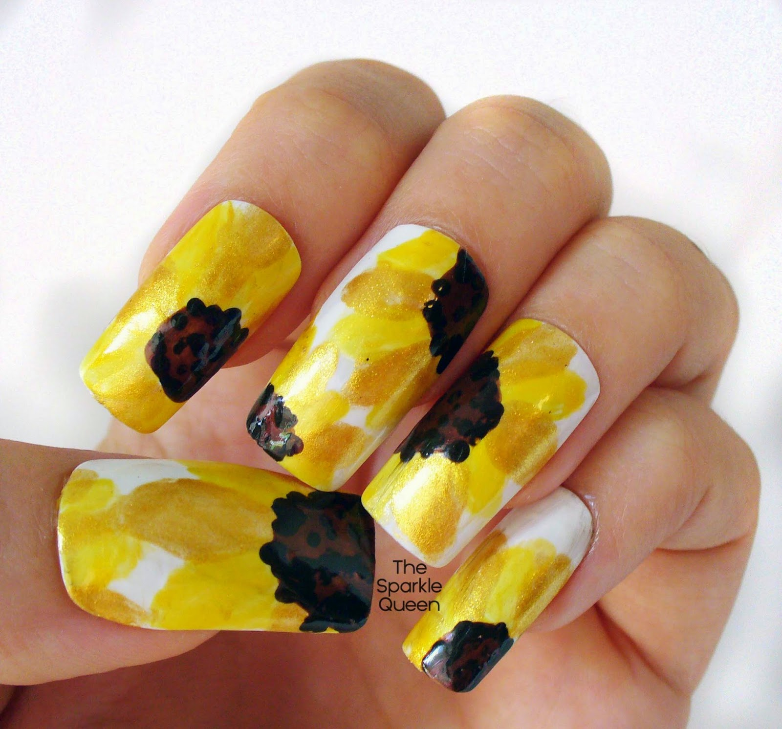 Sunshine Sunflowers Nail Art A Sparkly Life For Me