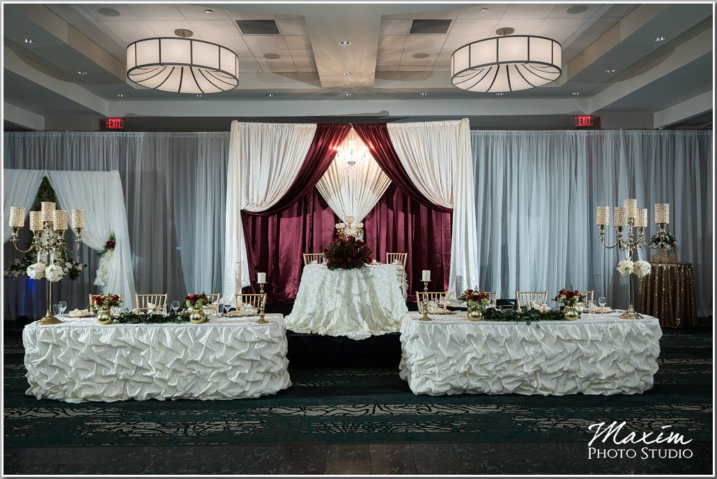 burgundy chair covers wedding white task and ivory drape - party rentals, corporate events planner, tent rentals